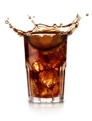 Fototapeta glass of cola isolated on white background