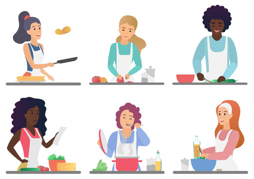 Cartoon happy cute people cooking set isolated vector illustration.