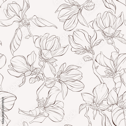 Seamless Pattern Background With Blooming Magnolia Flowers Outline