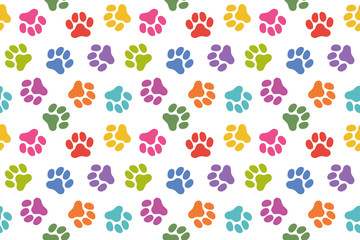 犬の足跡のパターン (Paw Prints Pattern. Vector Illustration)