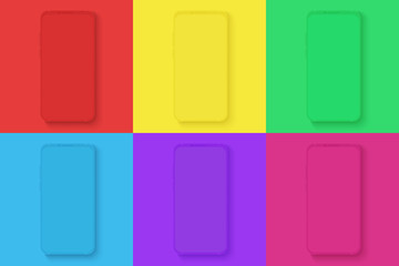 Smartphone icons set on the different bright colors square background for infographic, visual ui, commercial, advertisement, app demonstration vector illustration.