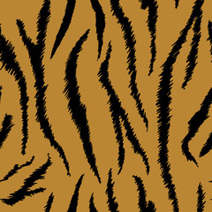 Tiger Texture Seamless Animal Pattern. Striped Fabric Background Tiger Skin. Fashion Abstract Design Print for Wallpaper, Decor. Vector illustration