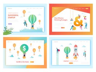 Business Solutions Successful Startup Landing Page Template Set. Marketing Strategy Concept with Business Characters Team Work for Website, Web Page Banner. Vector illustration