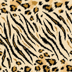Tiger Leopard Texture Seamless Animal Pattern. Striped Fabric Background Wild Animals Skin Fur. Fashion Abstract Design Print for Wallpaper, Decor. Vector illustration