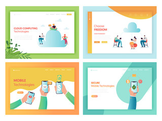 Cloud Storage Mobile Technologies Concept Landing Page Set. Big Data Cloud Computing Social Networks with Smartphone and People Characters for Website Web Page Banner. Vector illustration