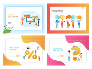 Business Solutions and Innovation Concept Landing Page Template Set. SEO Marketing Team Work with Business People Characters for Website Web Page Banner. Vector illustration