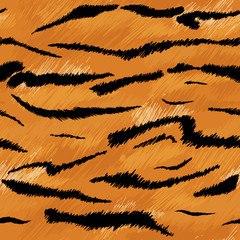 Tiger Texture Seamless Animal Pattern. Striped Fabric Background Tiger Skin Fur. Fashion Abstract Design Print for Wallpaper, Decor. Vector illustration