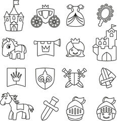 Vektor Set Grafiken Ausmalbild Ritter und Mittelalter