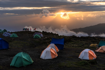 Sunset on a camp on the way to the Kilimanjaro summit