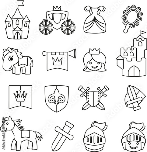 Vektor Set Grafiken Ausmalbild Ritter Und Mittelalter Stockfotos