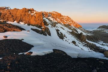 Sunrise on the crater of Mount Kilimanjaro