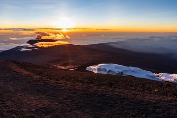 Sunrise on top of Mount Kilimanjaro, highest peak of Africa