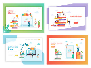 Online Education Concept Landing Page Template Set. Student Character Reading Book. Distance Education Training Courses Video Tutorial for Website, Web Page Banner. Vector illustration