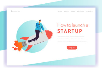 Business Project Start Up Concept Landing Page Template. Businessman Character Flying on Rocket, Career Growth for Website, Web Page Banner. Vector illustration