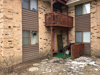 The apartment where Gary Martin -- suspect in a shooting incident February 15 -- lived is pictured in Aurora