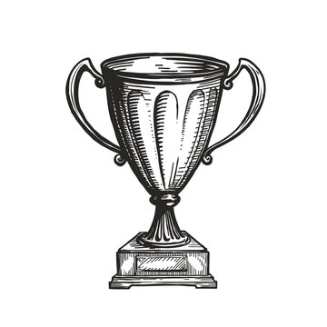 Winner trophy award. Win, winning, champion symbol. Hand drawn sketch vector illustration