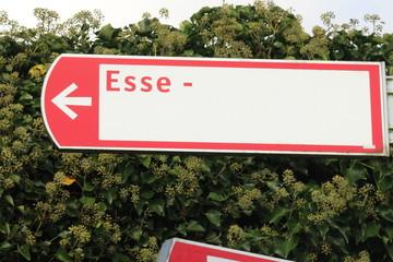 Red white cyclist direction sign to the Esse district in Nieuwerkerk aan den IJssel in the Netherlands