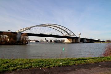 The Van Brienenoordbrug as suspension bridge over the nieuwe maas river on motorway A16 in Rotterdam the Netherlands