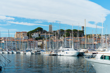 luxury yachts in Cannes harbor