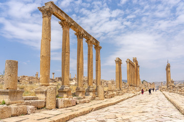 Cardo Maximus, main colonnaded street of the Roman city of Jerash, Jordan