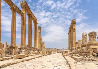 Cardo Maximus, main colonnaded street of the Roman city of Jerash, Jordan