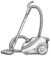 Vacuum cleaner illustration, drawing, engraving, ink, line art, vector