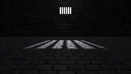 Prison cell, inside a prison cell. Shadows projected on the ground, cell window. 3d rendering