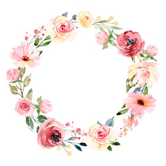 Wreath with watercolor flowers, floral frame for greeting card, invitation and other printing design. Isolated on white. Hand drawing.