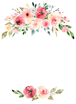 Watercolor flowers, floral frame border for greeting card, invitation and other printing design. Isolated on white. Hand drawing.