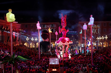 The float of the queen of Carnival is paraded through the crowd during the 135th Carnival parade in Nice