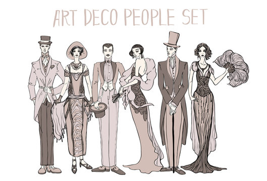 Art deco people set. Gatsby style set. Group of retro woman and man. design in 20's style. sketch style mafia and gangsters