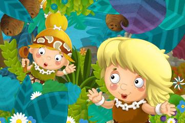 cartoon scene with caveman barbarian warrior woman in the jungle illustration for children