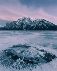 Winter Lake Minnewanka, Abraham, Methane bubbles,lifestyle, Travel Alberta, Canadian Rockies,Banff National Park,Icefiled Parkways