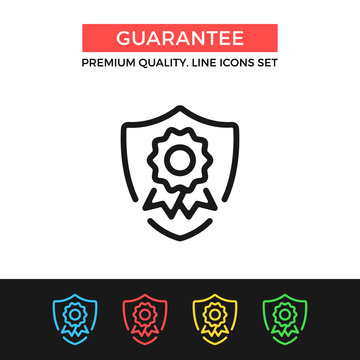 Vector guarantee icon. Shield with award badge. Premium quality graphic design. Modern signs, outline symbols collection, simple thin line icons set