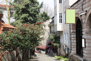 The winding narrow street of Istanbul surrounded by greenery. Authenticity of the old town. Travel photography.