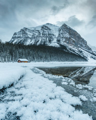 Lake Louise cabin, Banff National Park, Canadian Rockies, Winter season, beautiful landscape,Travel Alberta, Canada,frozen scenery