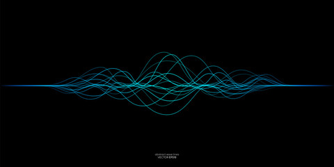 Vector wave lines flowing dynamic in blue green colors isolated on black background for concept of AI technology, music, sound Wall mural