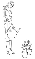 Girl gardener character with a watering can. Young woman in gumboots and apron holds watering pot for watering flowers. Vector outline illustration drawings on a white background.