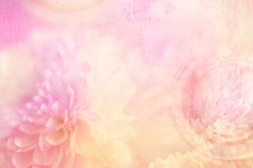 Layers of pink flowers in a vintage theme in a horizontal presentation.