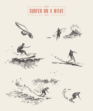 Collection sketches surfer wave drawn surf vector