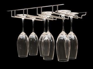 Wine glasses on the rack. Illustration on black background. 3d rendering.