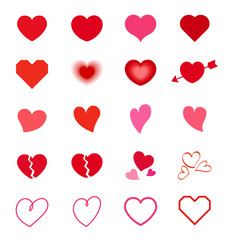 Heart symbol mark set