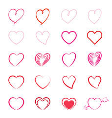 Heart symbol mark set- Hairline -
