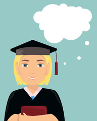Vector flat illustration with a girl graduate in a cap and gown.