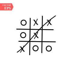 Tic-tac-toe. Mini game. Vector stock illustrationon white background.