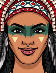 Color vector illustration of a girl face from an Indian tribe. Bright face makeup and traditional headdress on an Indian girl. Amazon girl face poster design for print on t-shirt, flyer, advertising