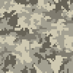 Digital camouflage pattern, seamless camo texture. Abstract pixelated military style background. Easy to edit mosaic vector illustration