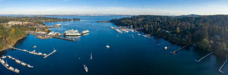 Eagle Harbor Looking Towards Seattle Aerial Landscape - Bainbridge Island Washington USA - Panoramic View of Mount Rainier and Ferry Terminal