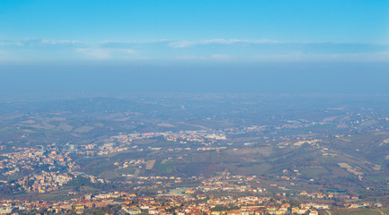 Beautiful view from San Marino city to hills of San Marino. Italian hills view from above