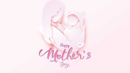 Happy mother's day greeting card. Paper cut style beautiful Mum smiling and holding healthy baby with full of happiness in pink background. vector illustration. - vector